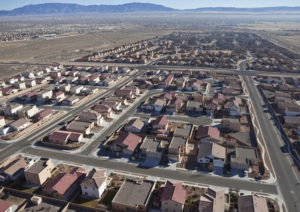 Suburban subdivision aerial in Albuquerque, New Mexico USA.
